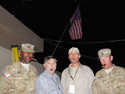 L to R - 1st LT Roy James (USA), DoD Civilian David Gault (retired USN), Army Civilian Mark Kerry (retired USA), and SSgt Bill Barnett (USA) on Independence Day in Afghanistan.