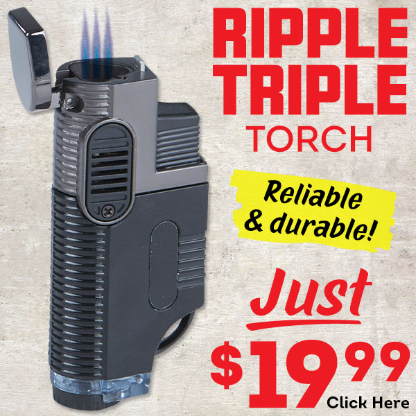 A well-made lighter with a rippled texture that ensures a good grip. Get a Ripple Triple Torch for just $19.99!
