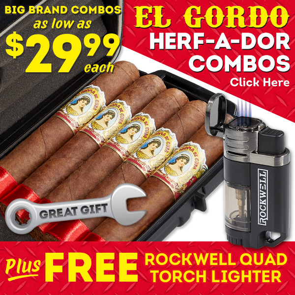 Grab an El Gordo Combo for as low as $29.99 and score 5 cigars, a torch, and a travel humidor!