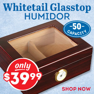 The beautiful Whitetail Glasstop Humidor is just $39.99!