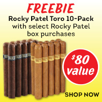 Buy a box of Rocky Patel Broadleaf or Connecticut and get a corresponding 10-pack FREE!